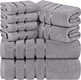 Utopia Towels Cool Grey 8-Piece Bath Linen Sets - Viscose Stripe Towels - 600 GSM Ring Spun Cotton - Highly Absorbent Luxury Towels (Pack of 8)