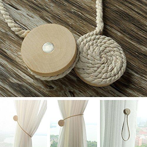 2 abrazaderas magnéticas para cortinas, sin perforaciones, estilo pastoral, redondas, de madera, con bola de algodón, con hebilla, para cortinas, beige, Tamaño libre