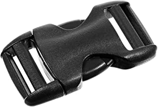 10 Pack Buckles - 1 Inch Flat Heavy Duty Dual Adjustable Side Release Buckles - Black Plastic for Repairs, Webbing, Bags, ...