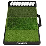 Champkey PRO Tri-Turf Golf Hitting Mat (Do Not Include Balls)| Heavy Duty Rubber Base Practice Mat Ideal for Indoor and Outdoor Practice (Tray Mat(Do Not Include Balls))