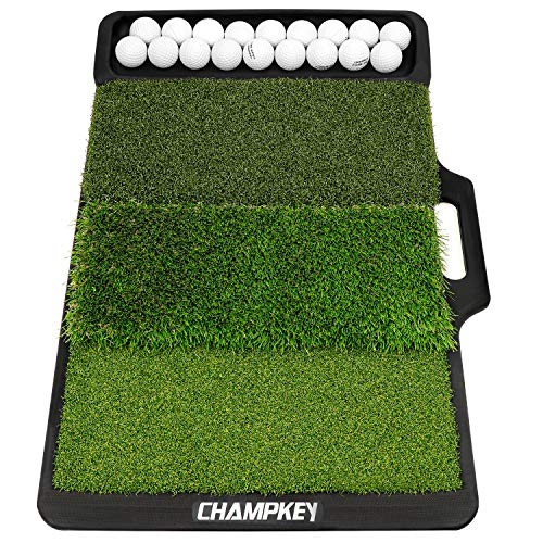 Champkey PRO Tri-Turf Golf Hitting Mat (Do Not Include Balls)| Heavy Duty Rubber Base Practice Mat Ideal for Indoor and Outdoor Practice(Tray MAT)