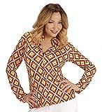 Shoperama - Blusa retro de los años 70 para mujer, con y sin patrón, disfraz de discoteca, camiseta, talla: L/XL, color: Rhombus
