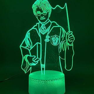 3D-Lampe Der magische Junge Harry Potter Figur Optische Täuschungslampe USB Batteriebetriebenes Nachtlicht 3D-Kinder-Nachtlicht LED-Raum Decorusb Wiederaufladbare Lesung Schlafende Nacht-Feeds Presen