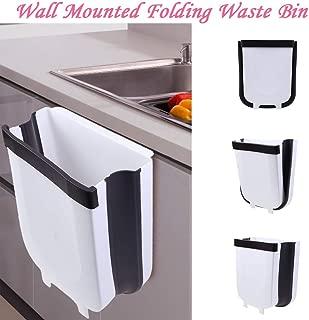 Hanging Trash Garbage Bag Holder for Kitchen Cupboard,Wall Mounted Folding Cabinet Waste Bin,Garbage Can for Kitchen Bedroom Waste Bin (White)
