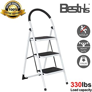 Besthls Step Ladder 3 Step Stool,Folding Kitchen Step Stool with Handgrip and Wide Anti-Slip Platform for Adults, 300 LBS Capacity