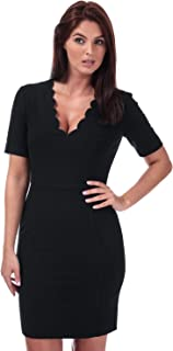French Connection Womens Whisper Ruth Scalloped Dress in Black.