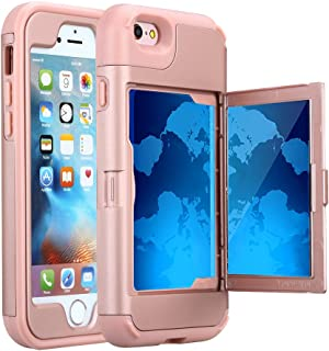 iPhone 6S Case, Hidden Door Slim Wallet Case, Fits 2 Cards and Cash, Reinforced Drop Bumper Protection, Open Mirror, Front Frame Screen Protection for iPhone 6/6S (4.7inch) -Rose Gold