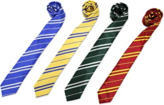 Premium Striped Necktie Set-4 Color with Cosplay Tie for the Birthday Party Costume Accessory Necktie