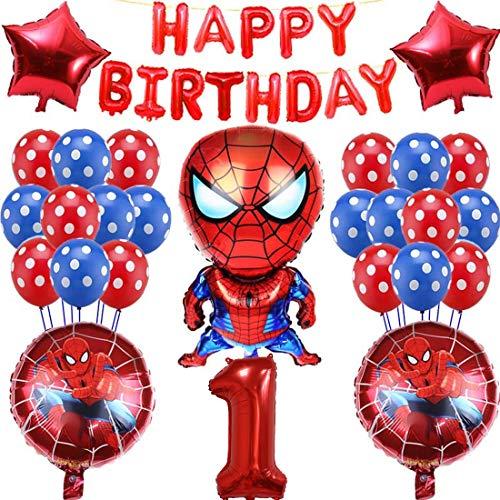 Miotlsy Decoracion Cumpleaños Super Heroes, Globos de Spider Man para Niños, Feliz Cumpleaños de Decoració del Pancarta, Juego de Globos de Fiesta de Cumpleaños de Bebé de un Año
