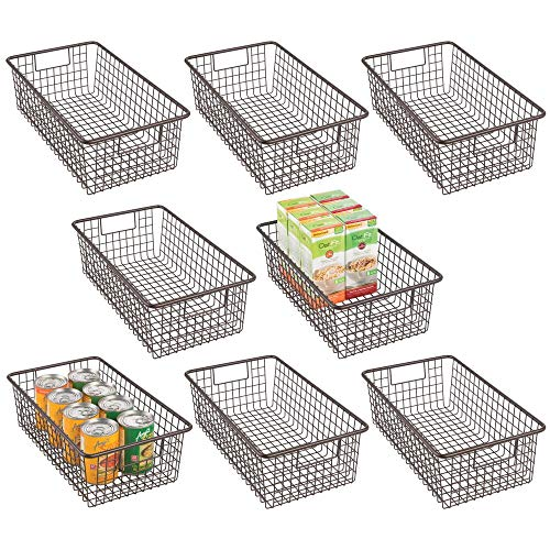 mDesign - Cesta organizadora de alambre de metal con asas para armarios de cocina, despensa, armarios, dormitorios, cuartos de baño,...