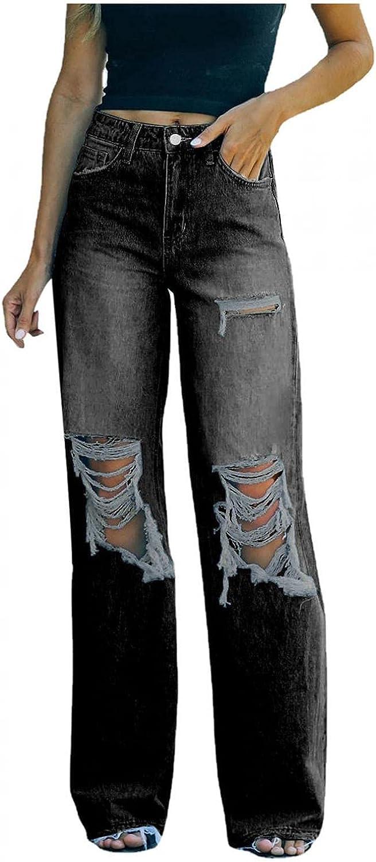Larisalt Jeans for Women Plus Size, Womens Ripped Baggy Boyfriends Jeans Wide Leg Straight Loose Denim Pants