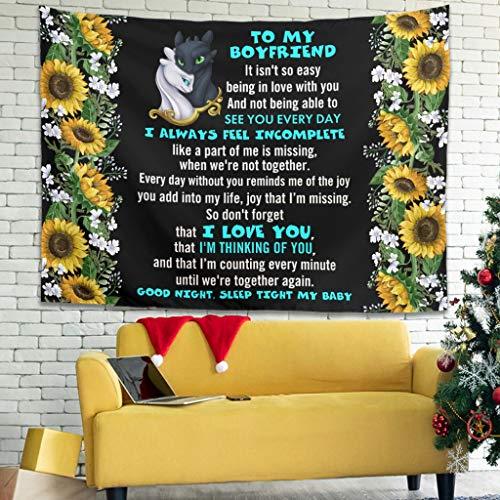 Gaolucky Zu Meinem Freund Drachen Kompliziert Tapisserie Wandbehang Tagesdecke mit Kopfteil Wandbehang Hauptdekor für Wohnzimmer Schlafzimmer Wohnheim Dekor White 200x150cm