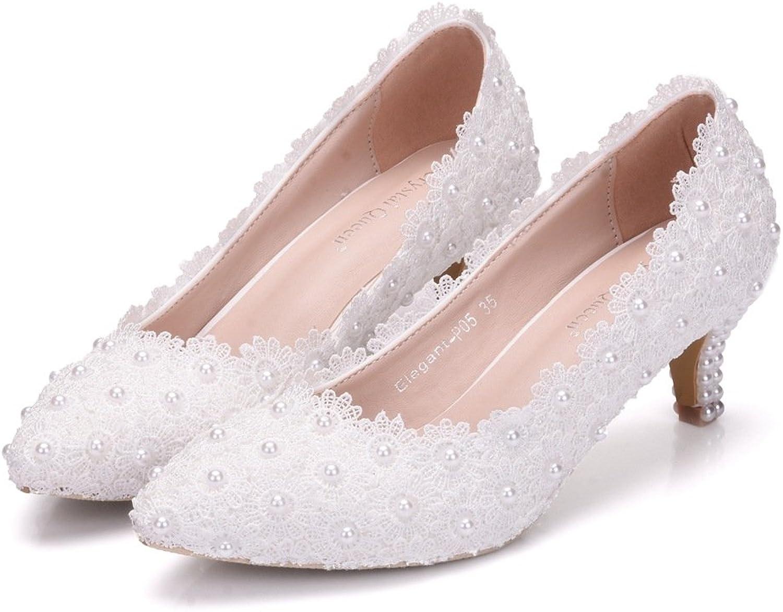 SUNNY Store Pearl Women Platform Bridal,Bridesmaid,Party,Evening,Proms Dress shoes Pumps