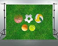 パーティースポーツボールのHDオリンピックをテーマにした背景グリーンソッドアスレチックフィールド写真の背景7x5ftソフトコットンしわなしYouTube写真撮影の小道具LHFS1066