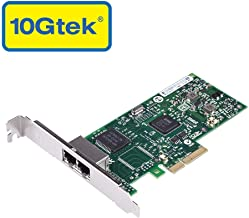 10Gtek for Intel 82580 Chipset 1.25G Gigabit Ethernet Server Adapter (NIC), Dual Copper RJ45 Ports, PCIE 2.0 X4, Same as I340-T2