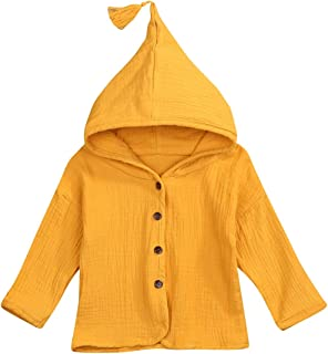 Toddler Kids Baby Girls Cotton Linen Clothes Solid Color Button Long Sleeve Hooded Sweatshirt Autumn Winter Coat Jacket