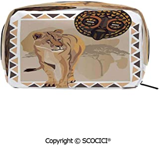Rectangle Portable makeup organizer Cosmetic Bags Tiger with African Tribal Icon Ethnic Patterns Wild Nature Art Illustration Printed Storage Bags for Women Girls