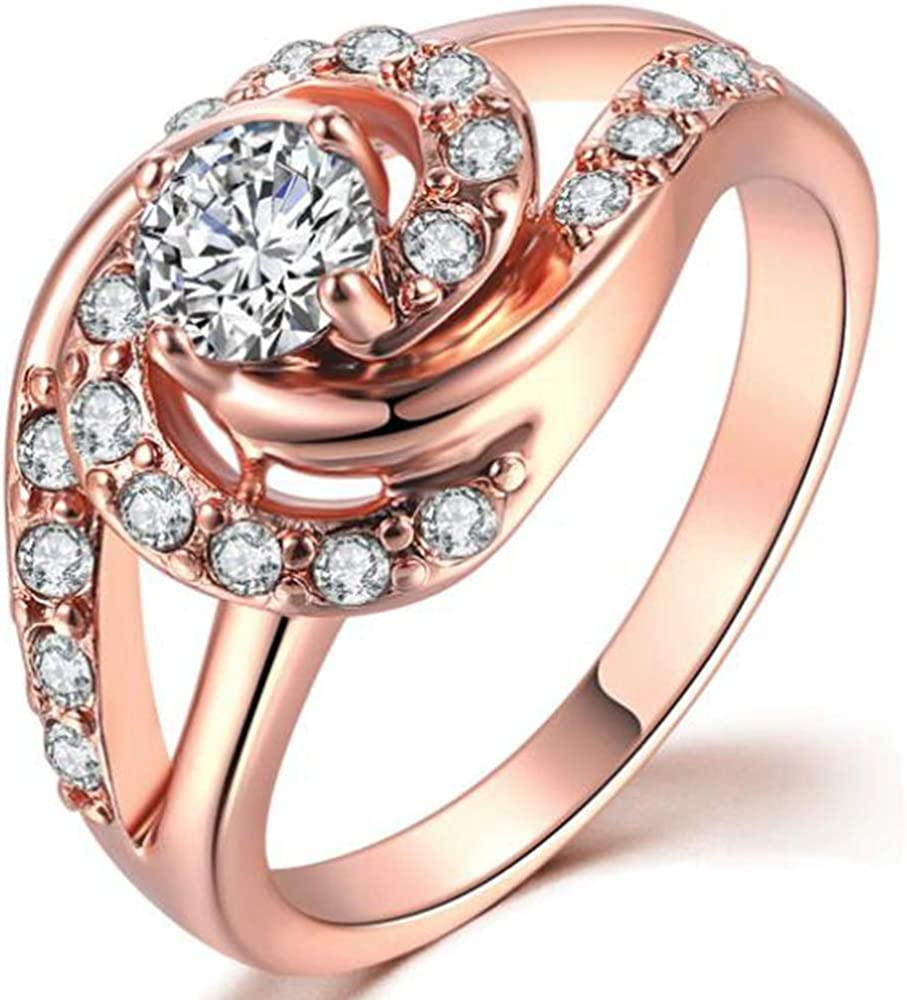 Jude Jewelers Rose Gold Spiral Twisted Wave Wedding Engagement Cocktail Party Ring