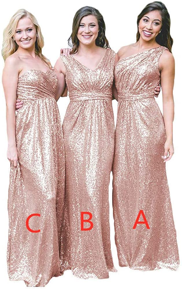 NewFex Sequin Champagne Bridesmaid Dresses Long One Shoulder Evening Gowns for Women Wedding