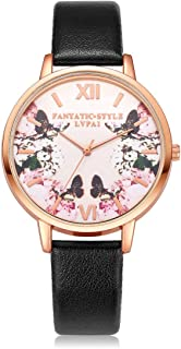 Hessimy Womens Fashion Watches New Ladies Business Bracelet Classic Luxury Watch Floral Print Sport Casual Simple Leather Band Girls Gift Retro Analog Quartz Wrist Watches for Women On Sale