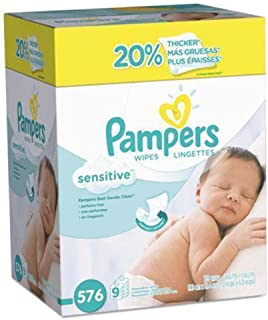 Baby Wipes, Pampers Sensitive Water Based Baby Diaper Wipes, Hypoallergenic and Unscented, 8 Refill Packs (Tub Not Include...