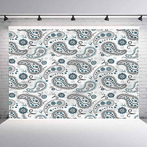 7x7FT Vinyl Backdrop Photographer,Paisley, Floral Arrangement Background for Party Home Decor Outdoorsy Theme Shoot Props
