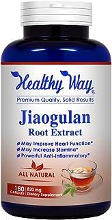 Healthy Way Pure Jiaogulan Supplement 180 Capsules - 820mg Gynostemma Pentaphyllum AMPK Activator Caffeine-Free Adaptogen ...