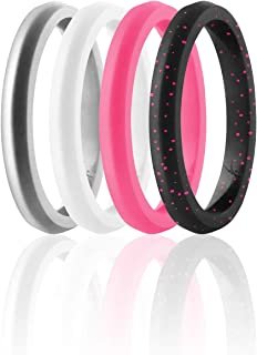 ROQ Silicone Wedding Ring For Women, Set of 4 Thin Stackable Silicone Rubber Wedding Bands Point- Pink, White, Black with ...