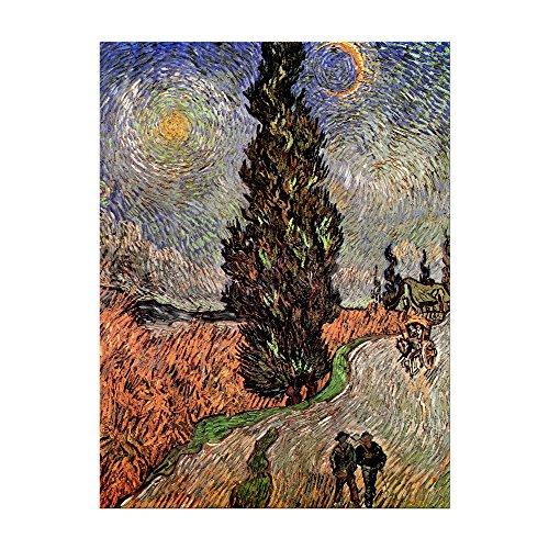 Kunstdruck Poster - Vincent Van Gogh Zypressenweg unter dem Sternenhimmel 30x40 cm ca. A3 - Alte Meister Bild ohne Rahmen