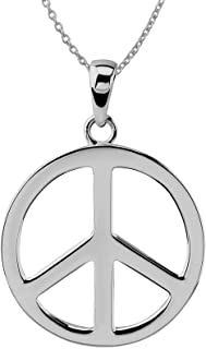 """Sterling Silver Large Peace Sign Pendant Necklace, 18"""""""
