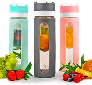 Pressa Bottle Squeeze System Fruit Infused Glass Water Bottle Infuser BPA Free 24 Oz