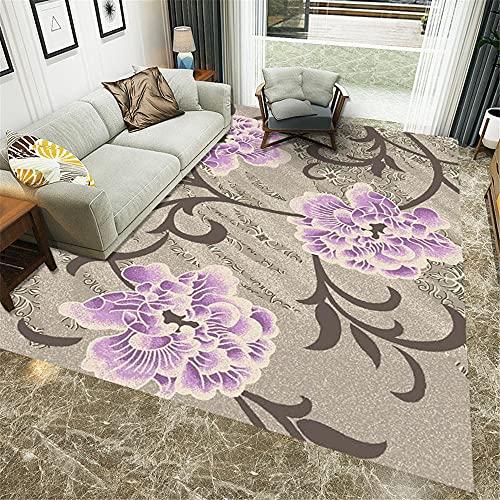 Alfombras habitación Alfombra Sala de Estar Alfombra marrón Graffiti Alfombra de Dormitorio con Estampado Floral púrpura Decoracion Cuarto Decoracion habitacion Matrimonio Alfombra 180*250cm