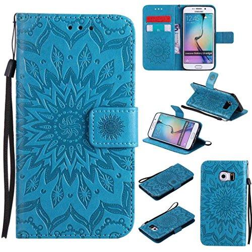 BoxTii Coque Galaxy S6 Edge, Etui en Cuir de Première Qualité, Housse Coque pour Samsung Galaxy S6 Edge (#6 Bleu)