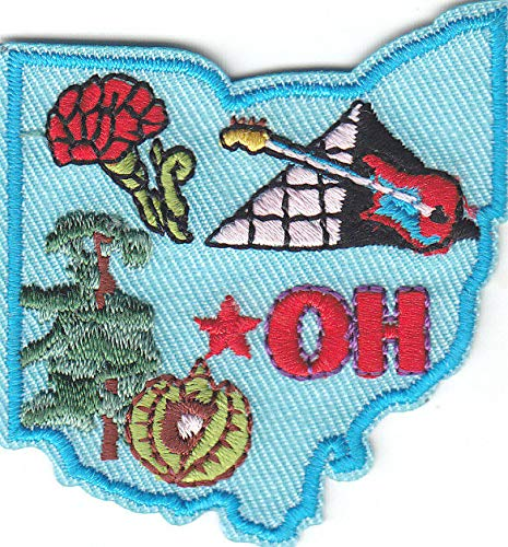 OHIO STATE SHAPE Iron On Patch Midwestern State