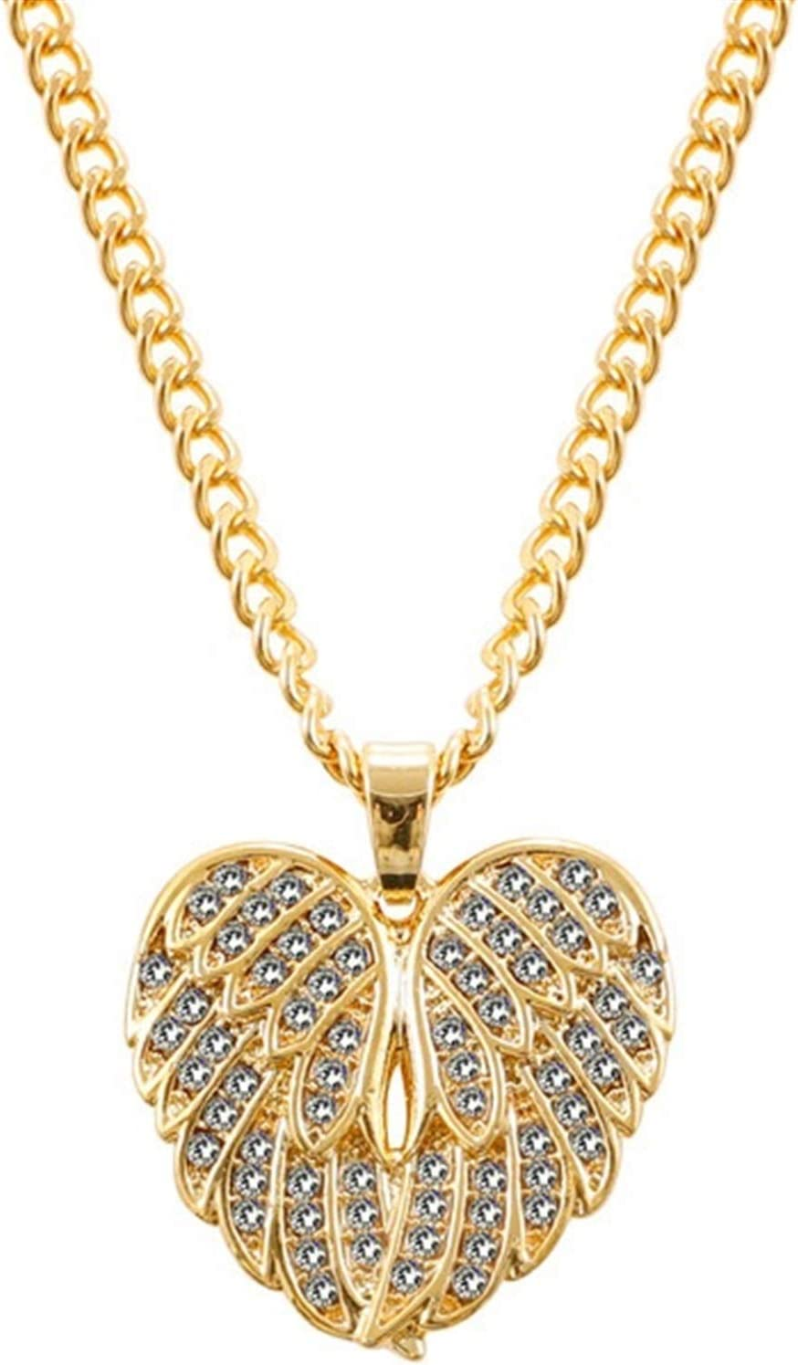 QWERBAM Stainless Steel Heart Shape Zircon Necklace for Women Gift Charm Chain Love Necklace Feather Necklace Chokers Collar (Metal Color : 2)
