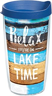 Tervis 1249251 Relax You're on Lake Time Tumbler with Wrap and Blue Lid 16oz, Clear