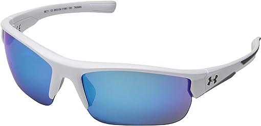 Satin White/Satin Gray/Blue Mirror Multiflection Lens
