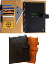 Thegreen Hard leather Cover For The Rocketbook Everlast Executive Size,black/dark brown, Leather Fabric, Pen Loop Holder/P...