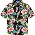SSLR Big Boy's Hibiscus Cotton Short Sleeve Casual Button Down Hawaiian Shirt