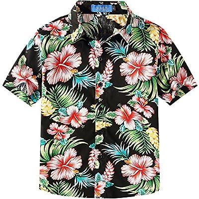 SSLR Big Boy's Hibiscus Cotton Short Sleeve Casual Button Down Hawaiian Shirt