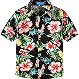 SSLR Big Boy's Floral Cotton Casual Button Down Short Sleeve Hawaiian Shirt (X-Small (6), Black)