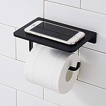 Morfone Toiletpapierhouder zonder boren met plank, wandhouder toiletpapierhouder (zwart)