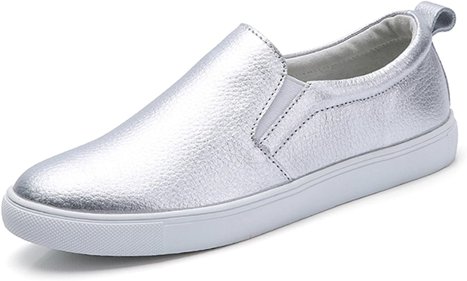 Orcan bluece Women Leather Loafers Fashion Flats Silver Slip On shoes