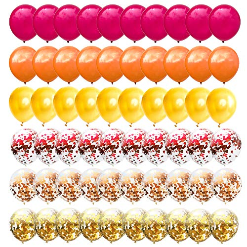 60PCS 12 Inches Latex Balloons Confetti Balloons Set - Red & Orange & Gold Balloons Helium Balloons for Birthday Fall Autumn Thanksgiving Give Thanks Party Decorations Supplies
