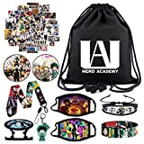 YKLL My Hero Academia Gift Sets Including Drawstring Bag,Face Masks,Waterproof Stickers,Bracelets,Lanyard,Button Pins, Phone Ring Holder, Keychain for Anime MHA Fans, Style 1, Medium
