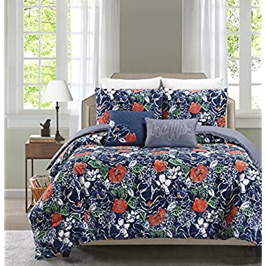 Printed 4-5 Piece Comforter Set Including 2 Decorative Pillows and Sham(s) By Blissful Living – Down Alternative, Brushed Microfiber for a Soft & Luxurious Feel (Daria, Full / Queen)