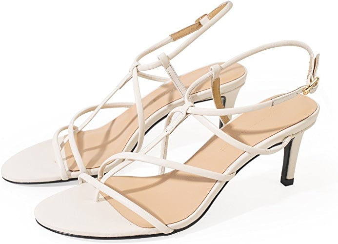 DHG Boucle Western avec Une Vraie Amende avec des Chaussures à Talons Hauts,Blanc,35