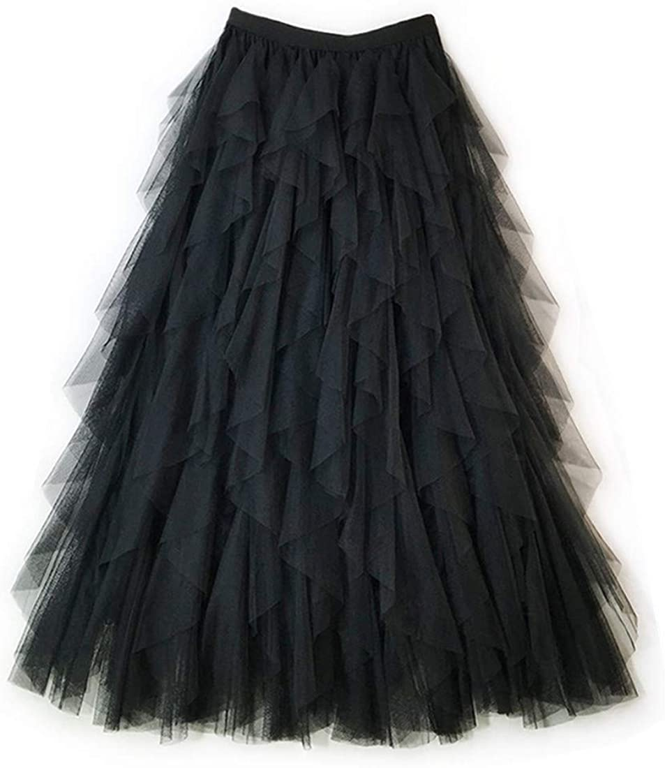 MizHome Women's Lace Cake Dress Skirts Irregular Layered Prom Party Tulle Tutu