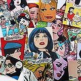 QINGMI Vintage Magazine Lady Scrapbooking Pegatinas Pegatina Decorativa DIY álbumes de Fotos artesanales 50 Piezas