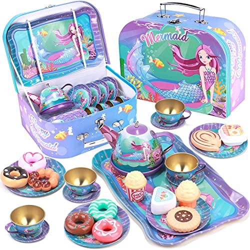 Tacobear Tee Set Kinder Teeservice mit Dessert Spielzeug Tragekoffer Tin Teekanne Set Meerjungfrau Tee Party Rollenspiele Meerjungfrau Geschenk für Kinder Mädchen 3 4 5 6 7 8 9 Jahren